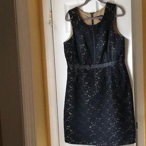 Oleg Cassini Black Lace Dress Nude Sheath underlay